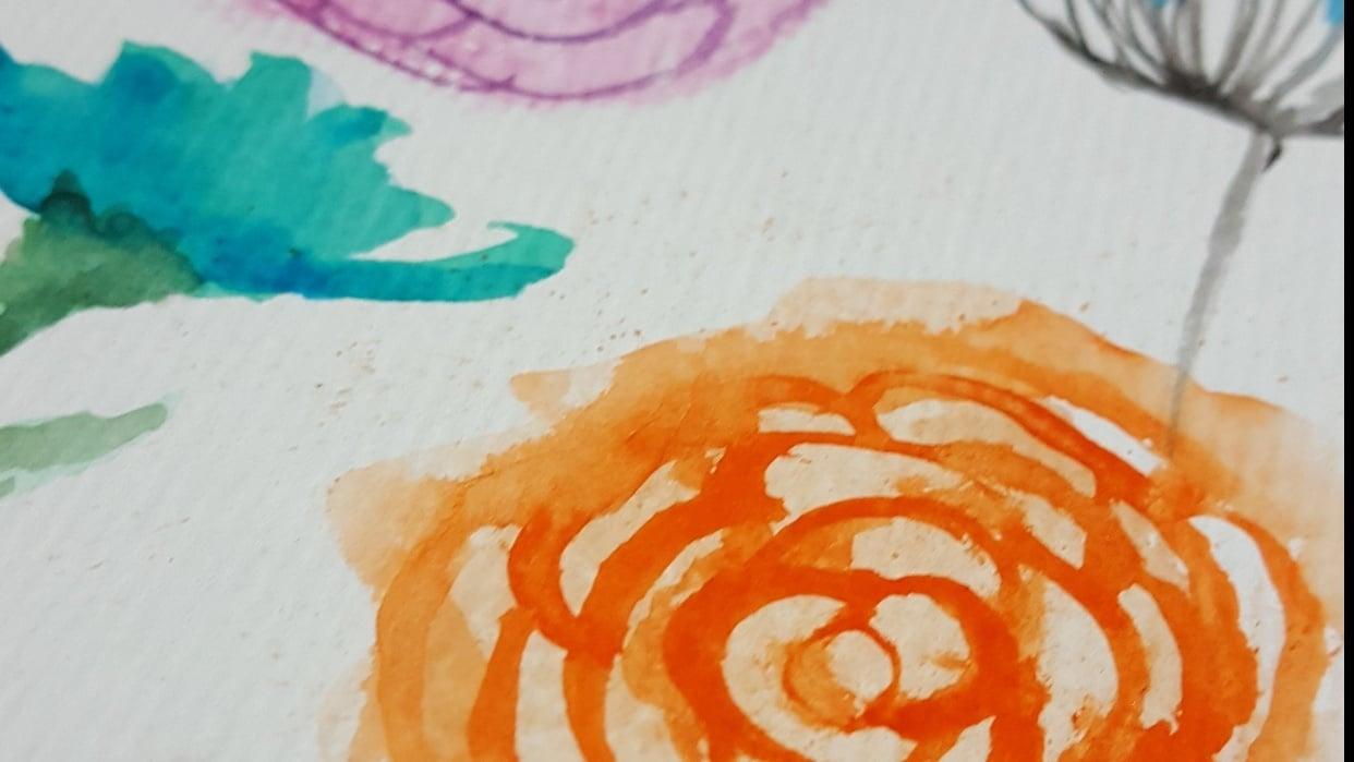 watercolor floral practicas - student project