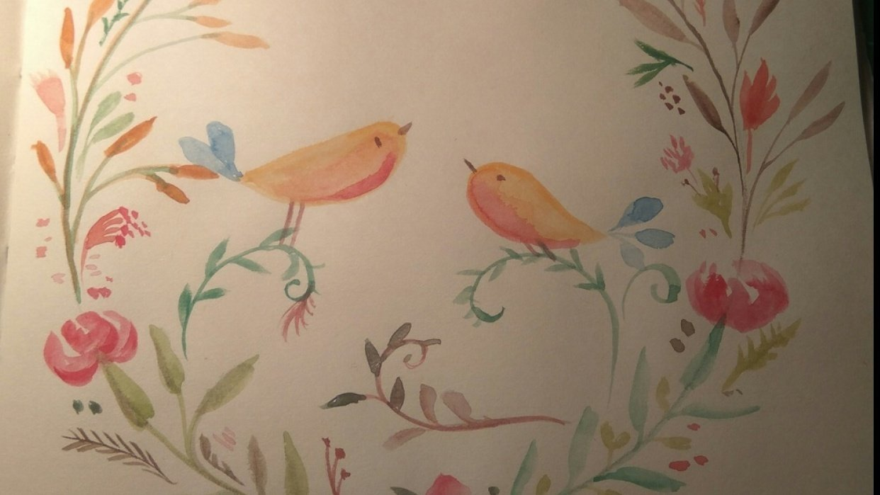 Watercolor Birds&Flowers - student project