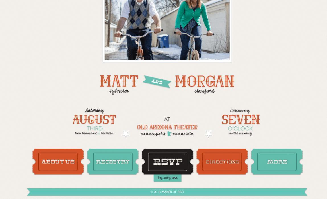 Matt and Morgan - a Wedding Invite via Website - student project
