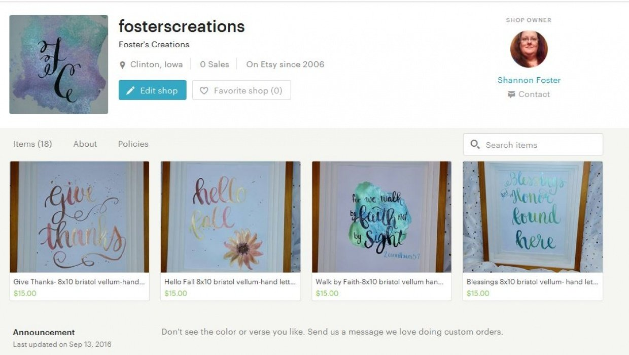 Foster's Creations etsy shop - student project