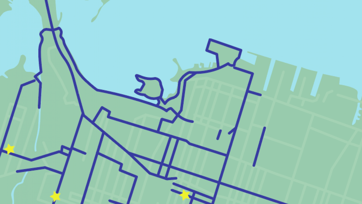 A bicycle map for a city I used to live in - student project