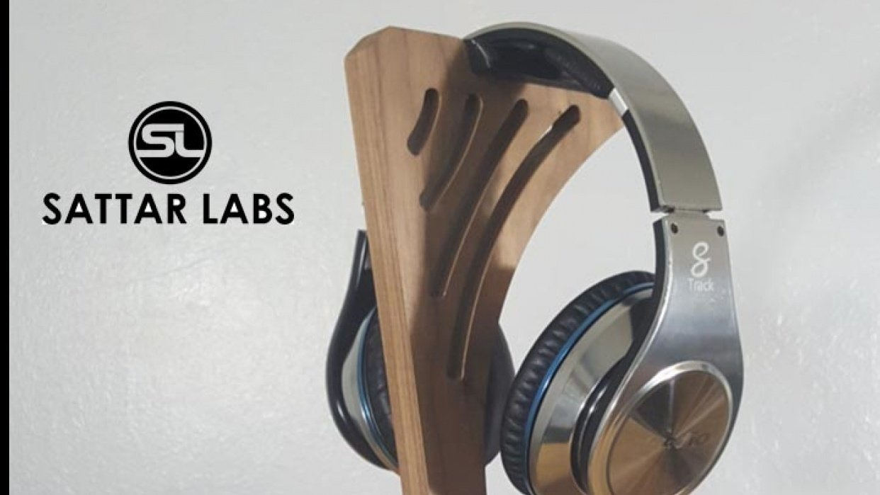 Wooden headphone stand - student project