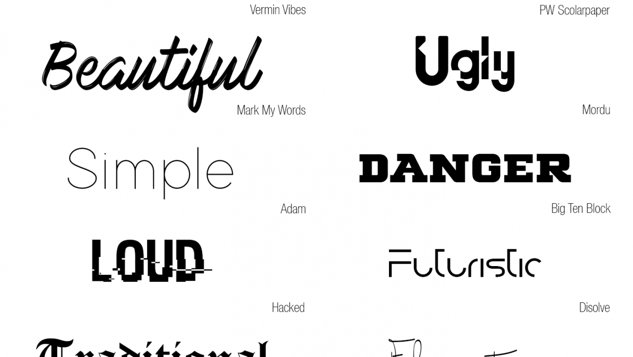 10 words, 10 typefaces - student project
