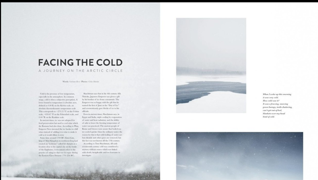 My very first magazine layout for print! - student project