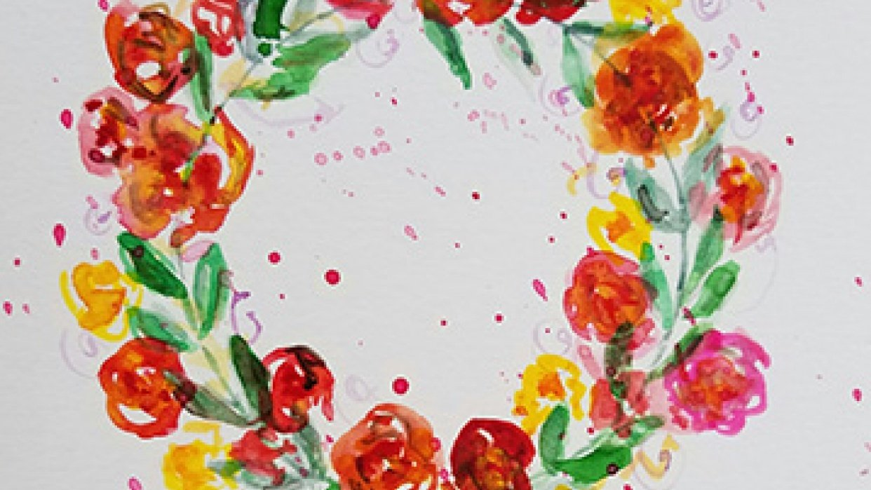 Floral Wreath with Splatters - student project