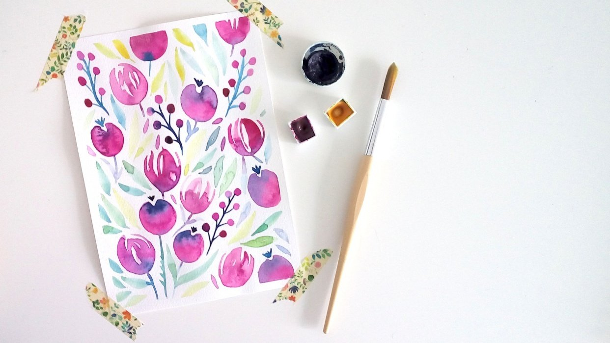 My watercolor floral: Tulips & Berries! - student project