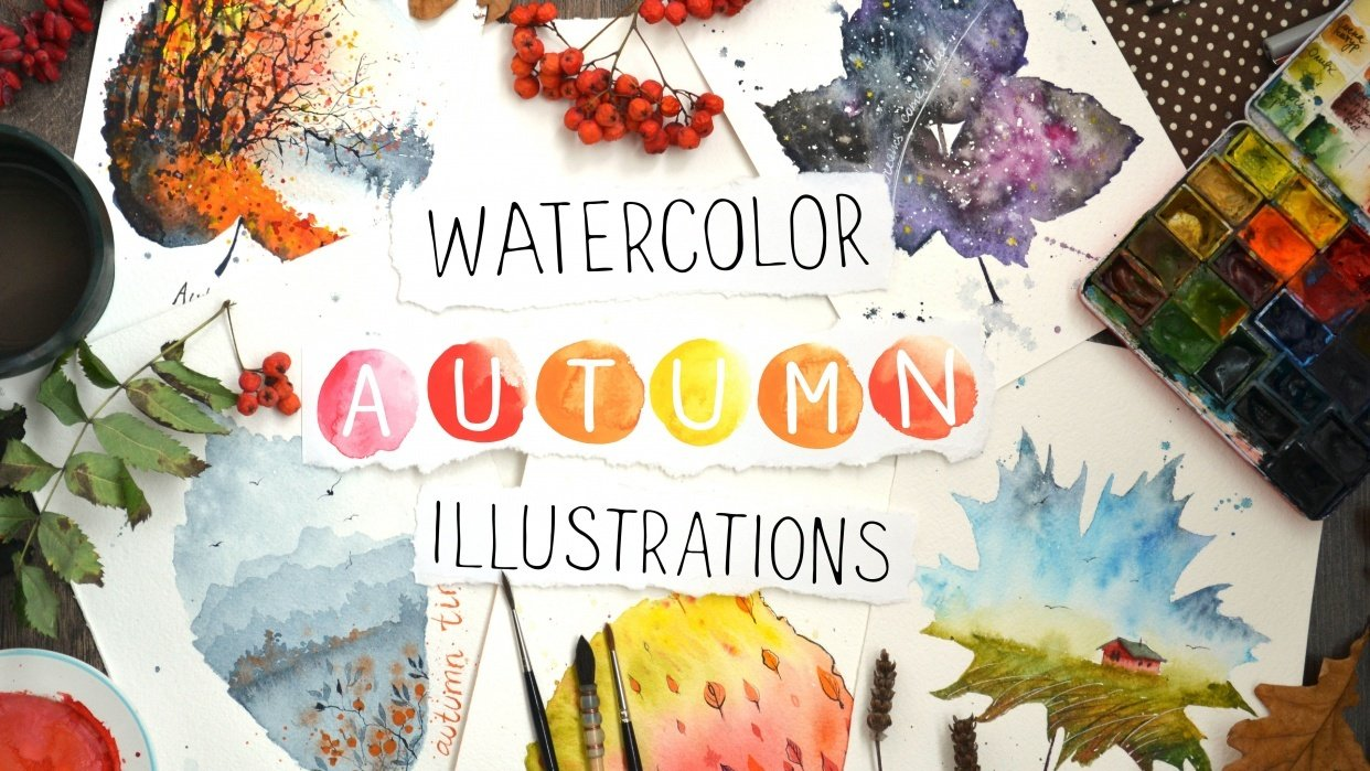 Watercolor Autumn Illustrations - student project