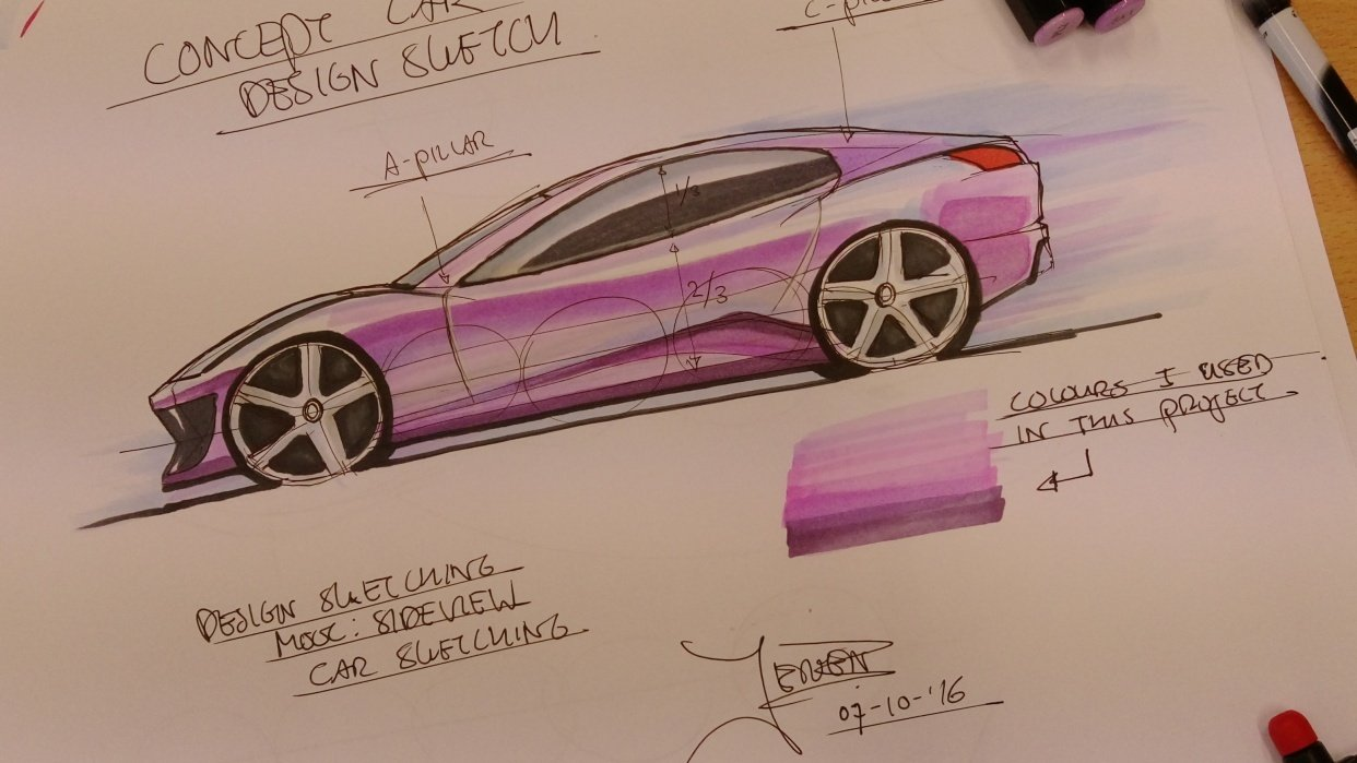 Car sketch - student project
