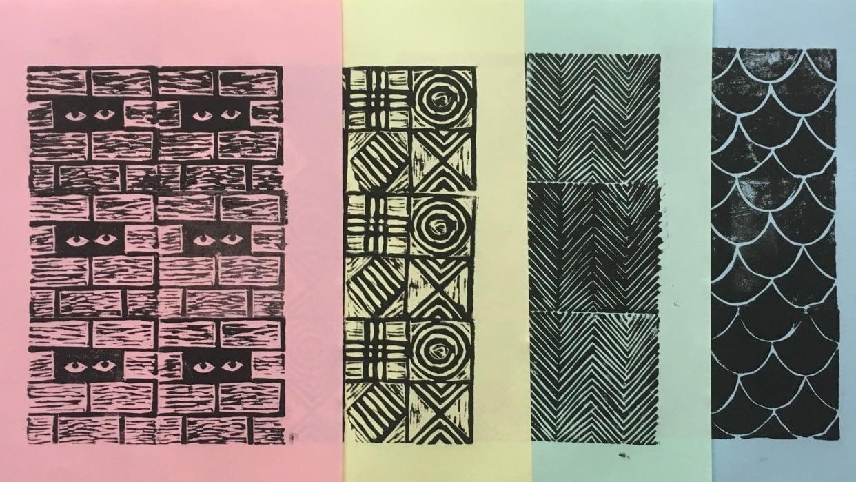 Geometric Linocut Patterns - student project