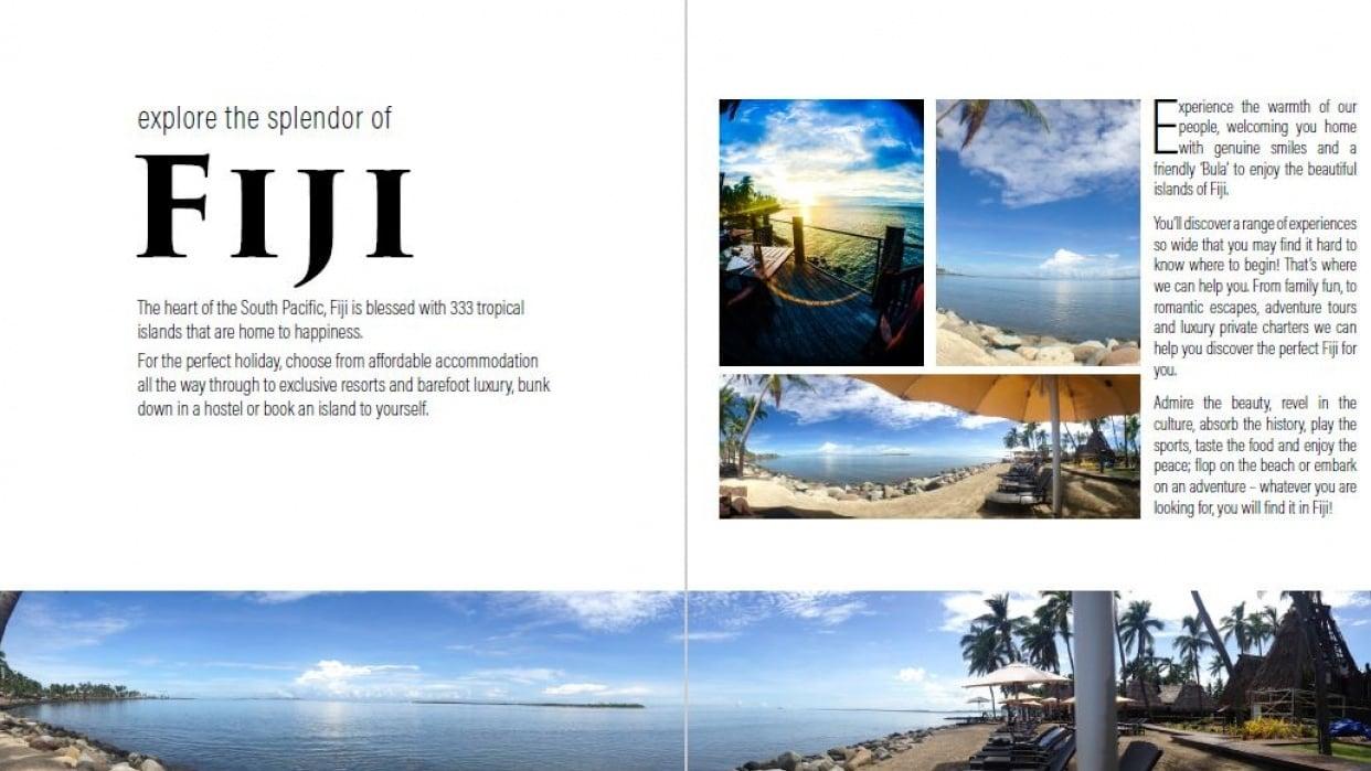 Practice magazine spread - Explore Fiji - student project