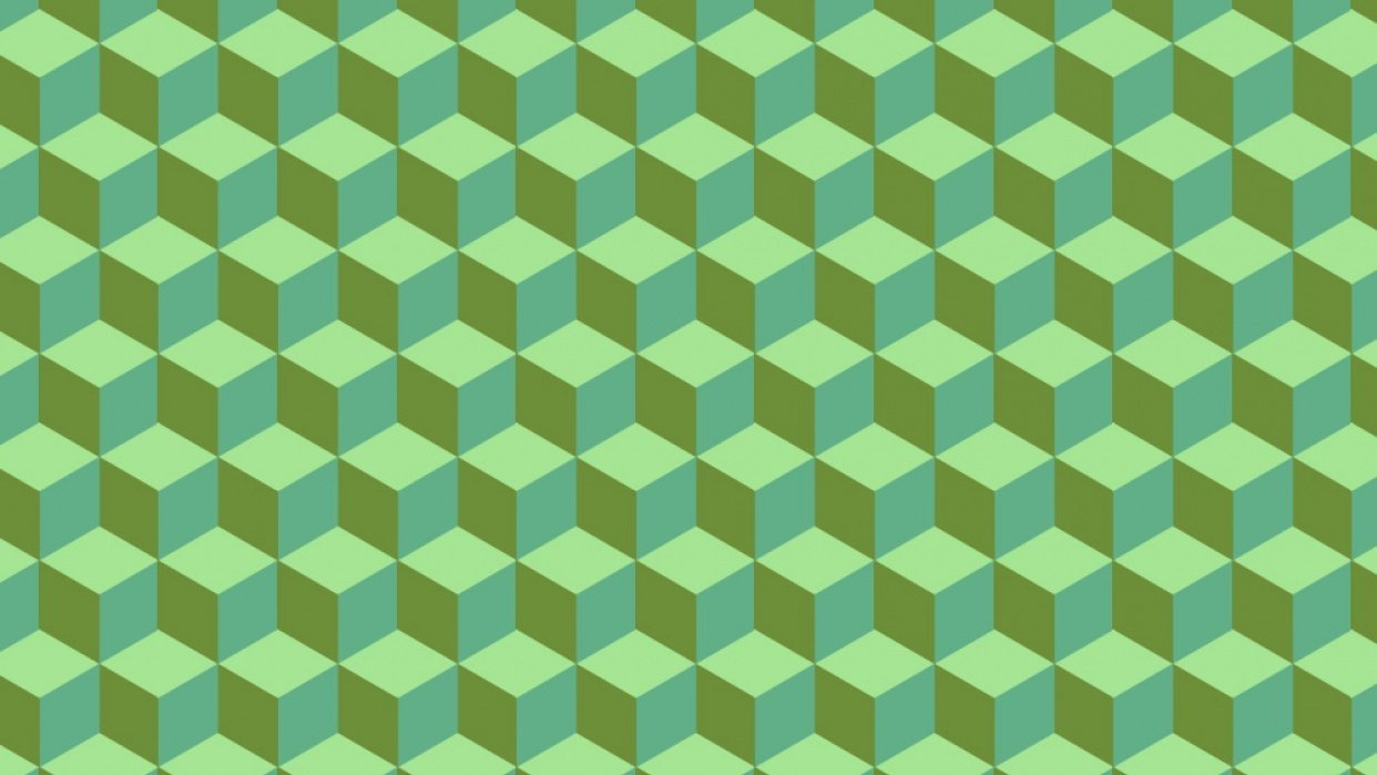 Isometric Cube Pattern in Green - student project