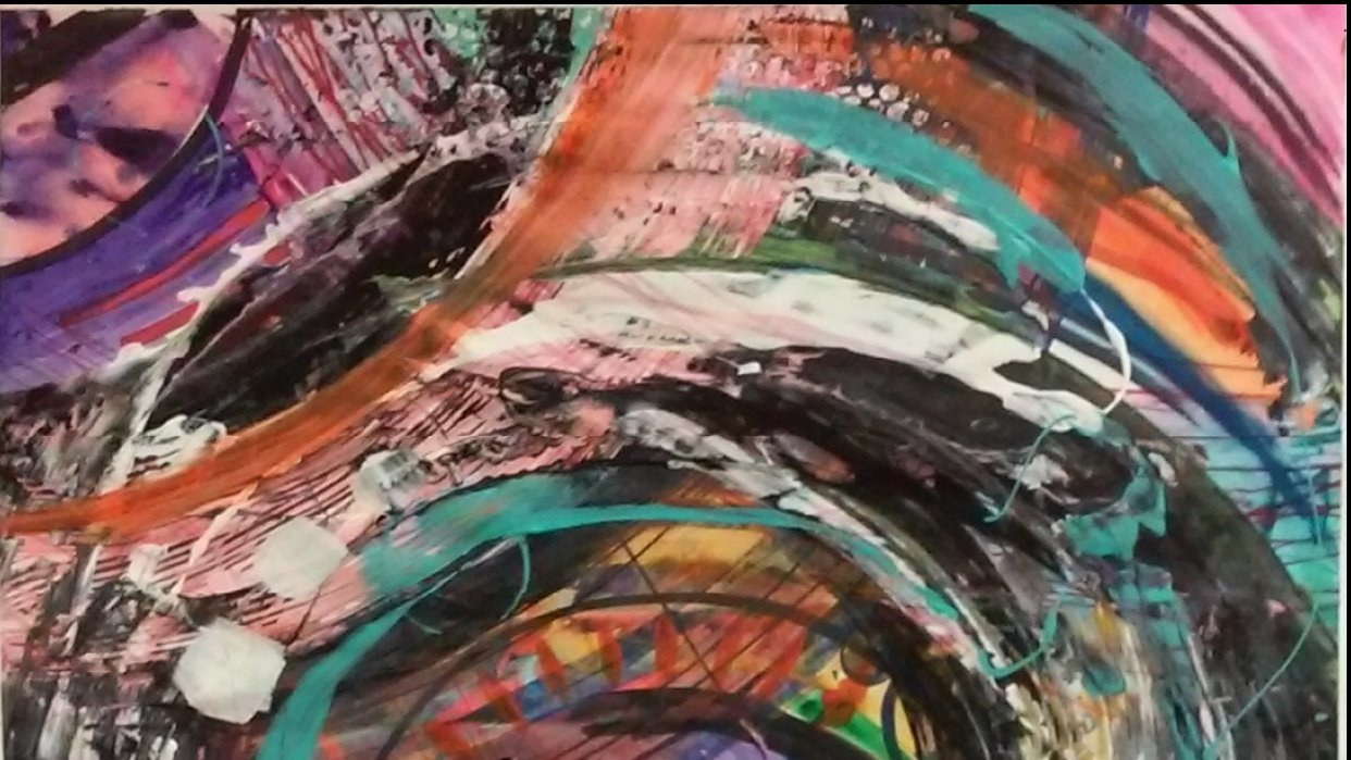 Abstract painting with 5 people - student project