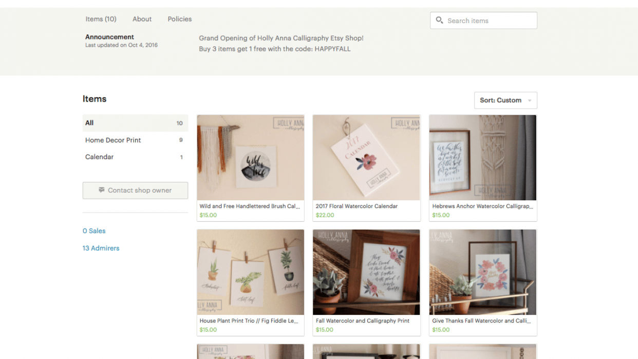 Start your shop: Holly Anna Calligraphy - student project