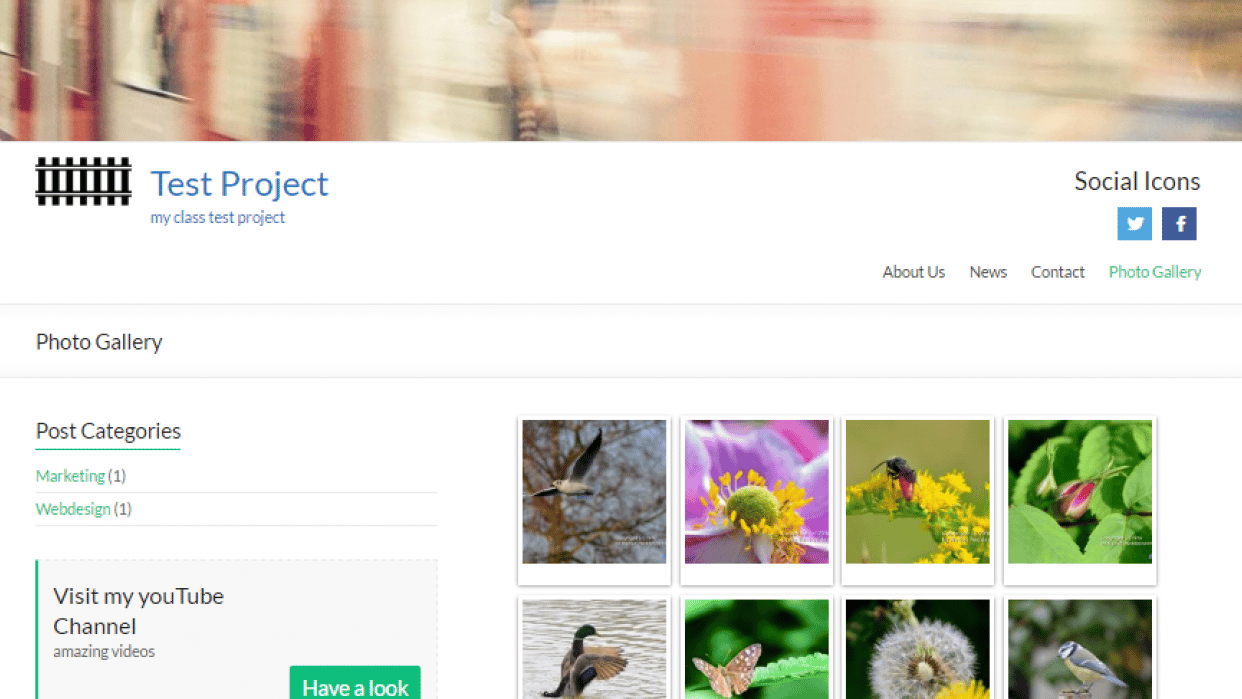 Photo Gallery with watermarked pictures - student project