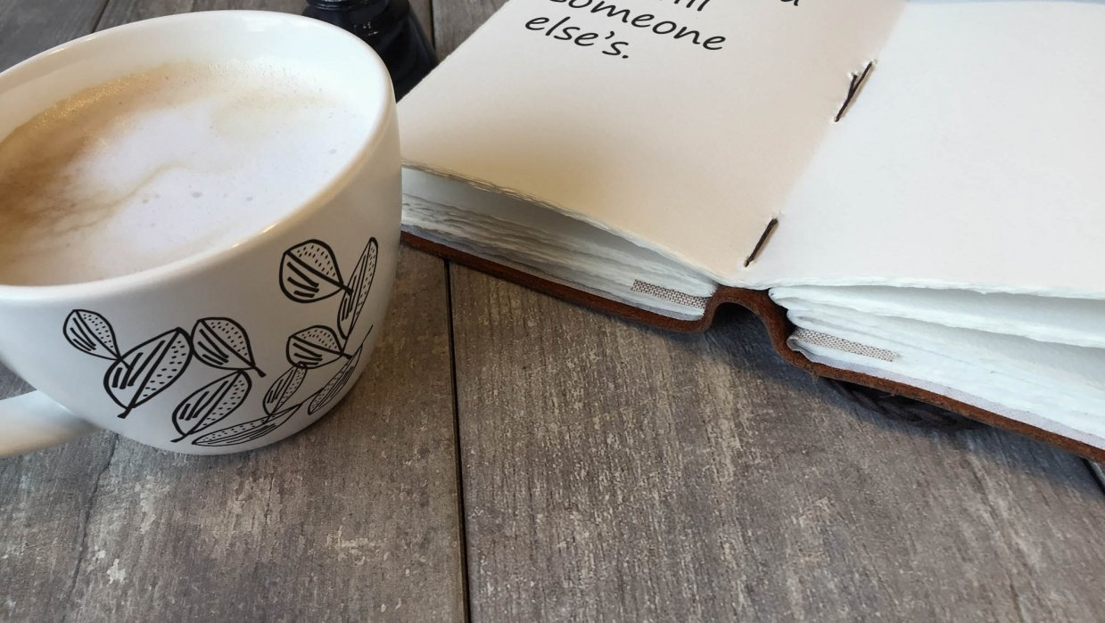 My first coffee mug and journal page - student project