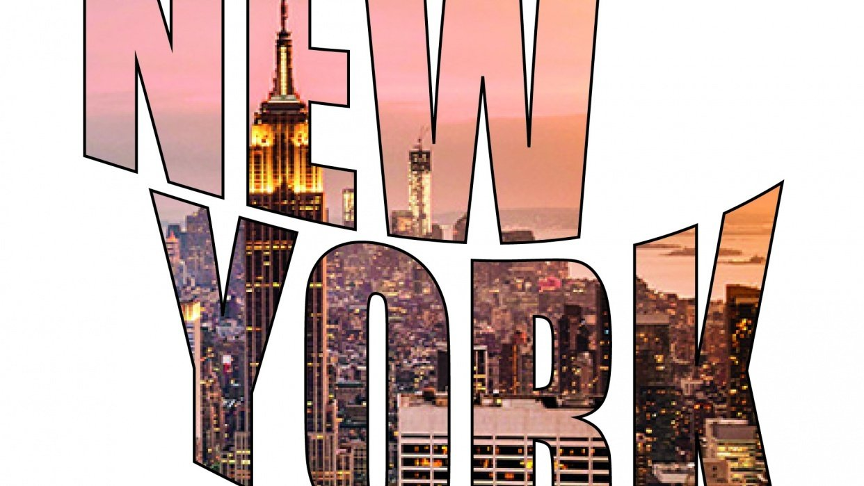 New York - Text Outlined, Masked and Warped - student project