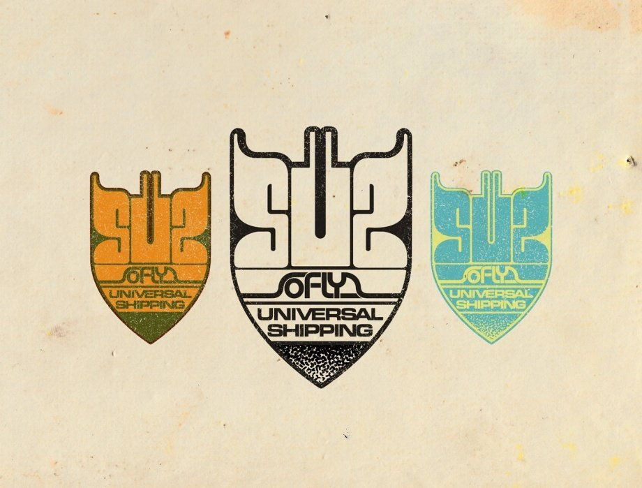 _UPDATED_SoFly Universal shipping - a galactic funk delivery logo - student project