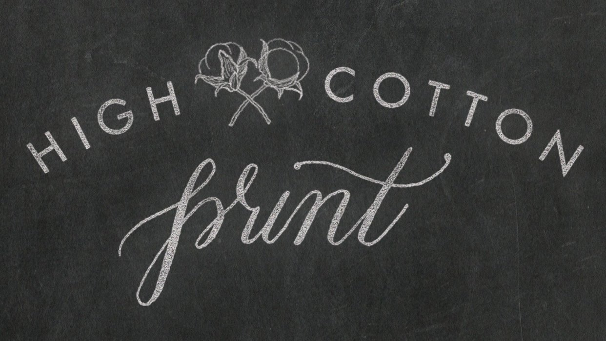 High Cotton Print logo in chalk - student project