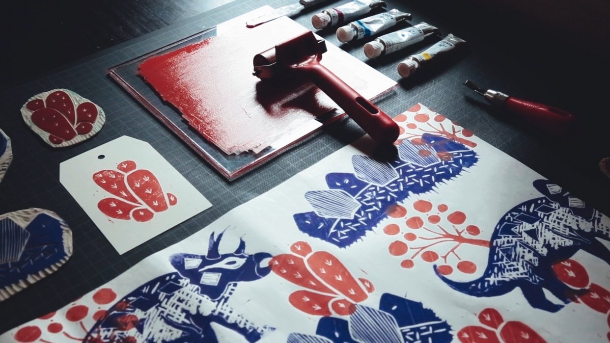 Dinosaur Linocut Wrapping Paper & Gift Tags - student project