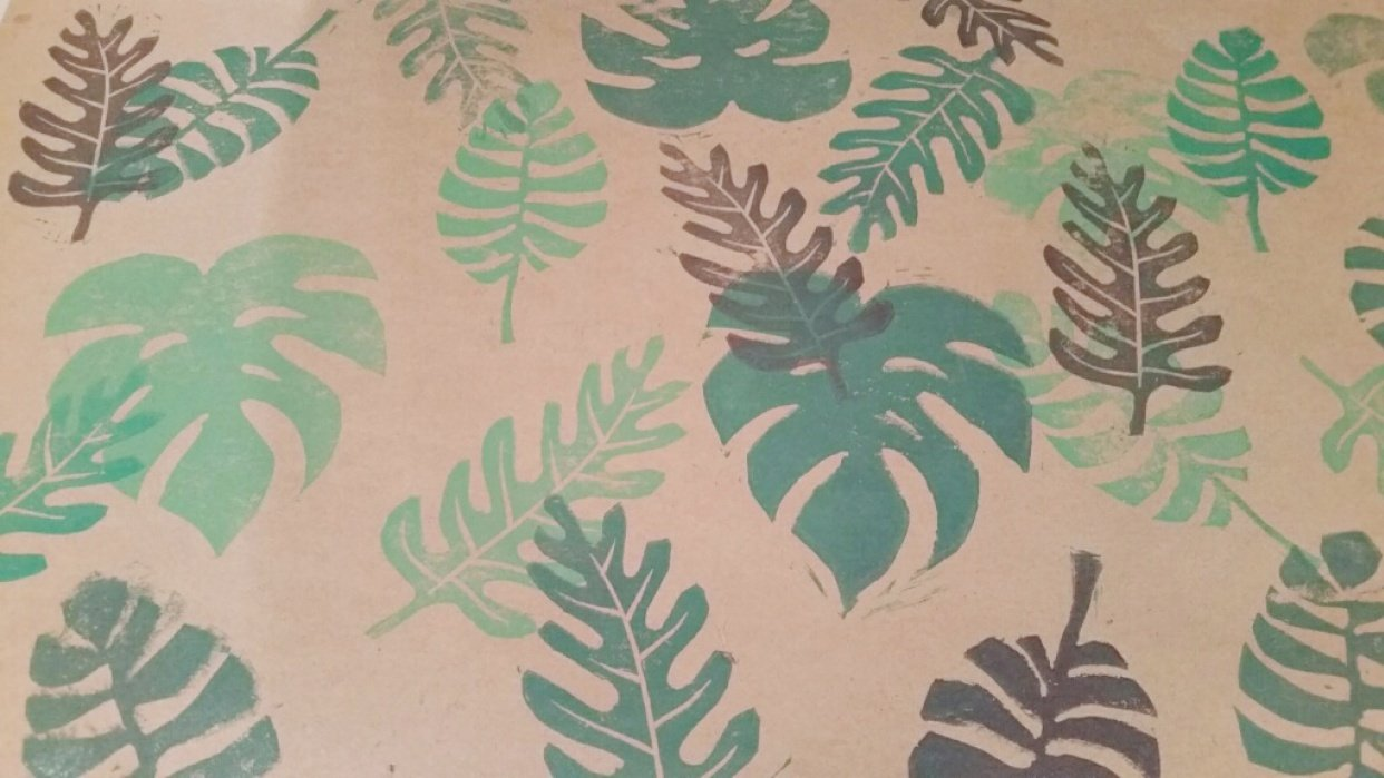 Tropical Leaves - wrapping paper!! - student project