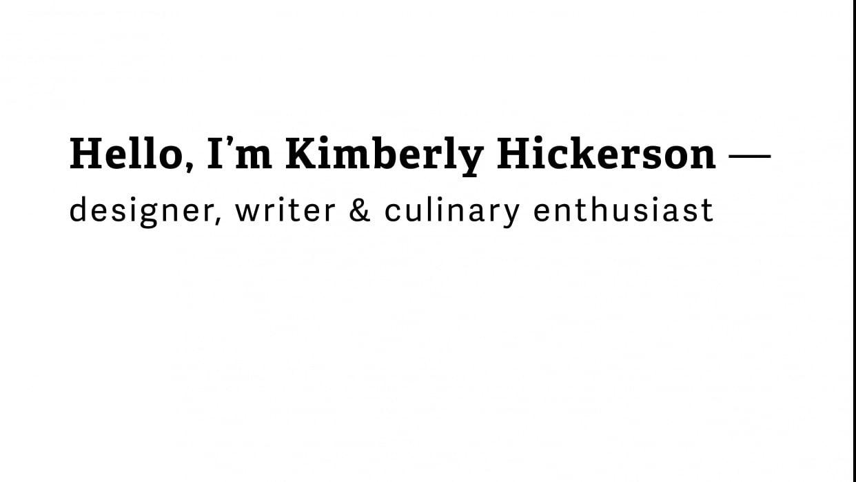 Hello, I'm Kimberly - student project