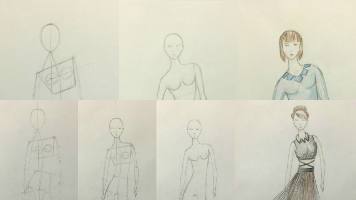 Fashion illustration (traditional tools) - 2 designs finished - student project