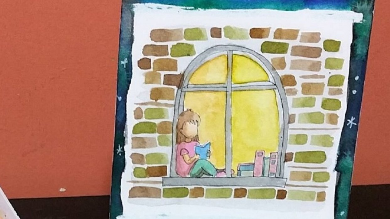 Girl reading by the window - student project