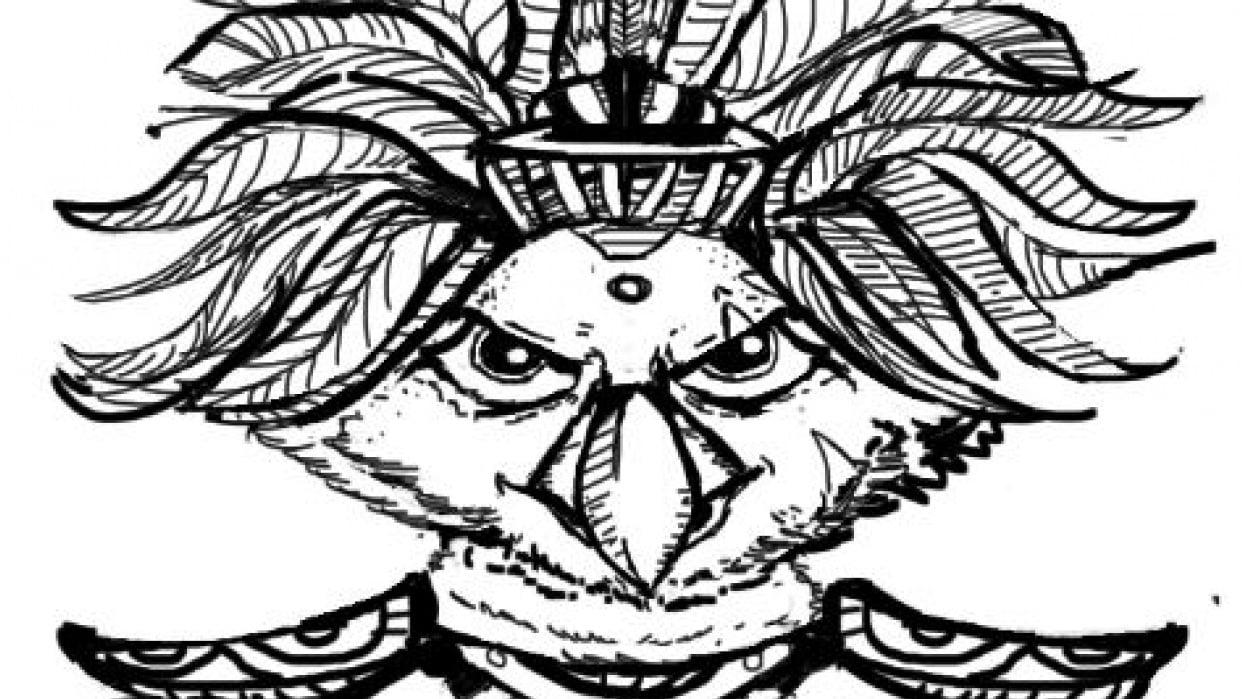 Maya God  hawk and warrior girl (project in progress) - student project