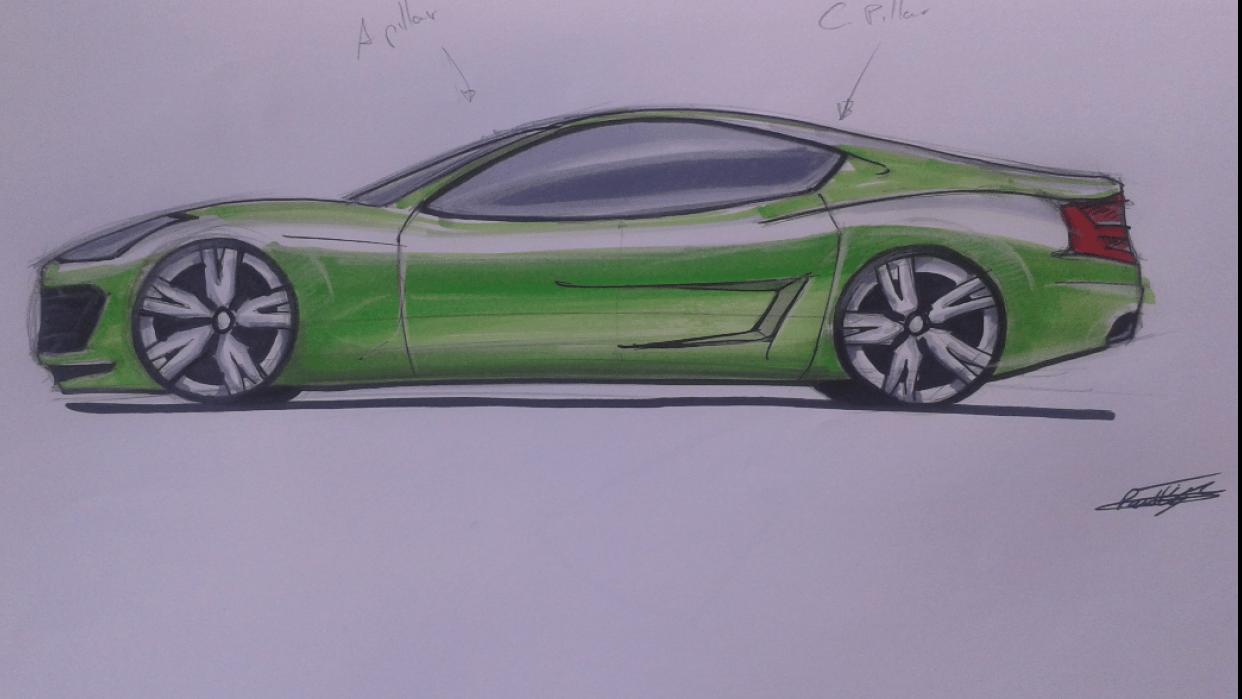 Sportscar sidevieuw - student project