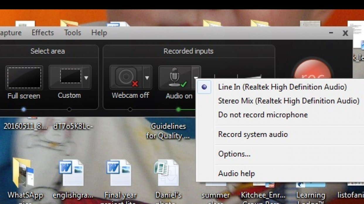 My Camtasia audio settings - student project