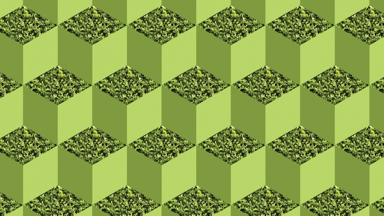 Green isometric cube pattern - student project