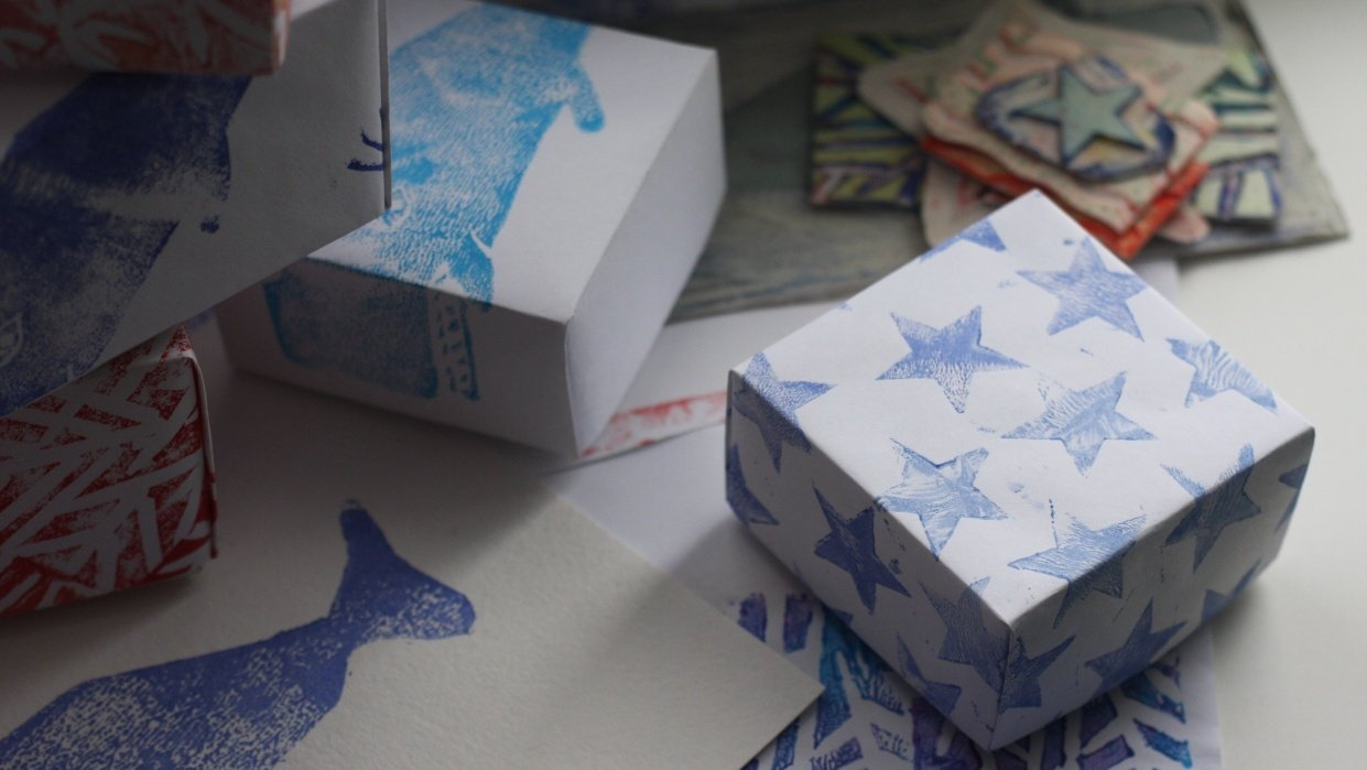 hand-made patterns and origami boxes - student project
