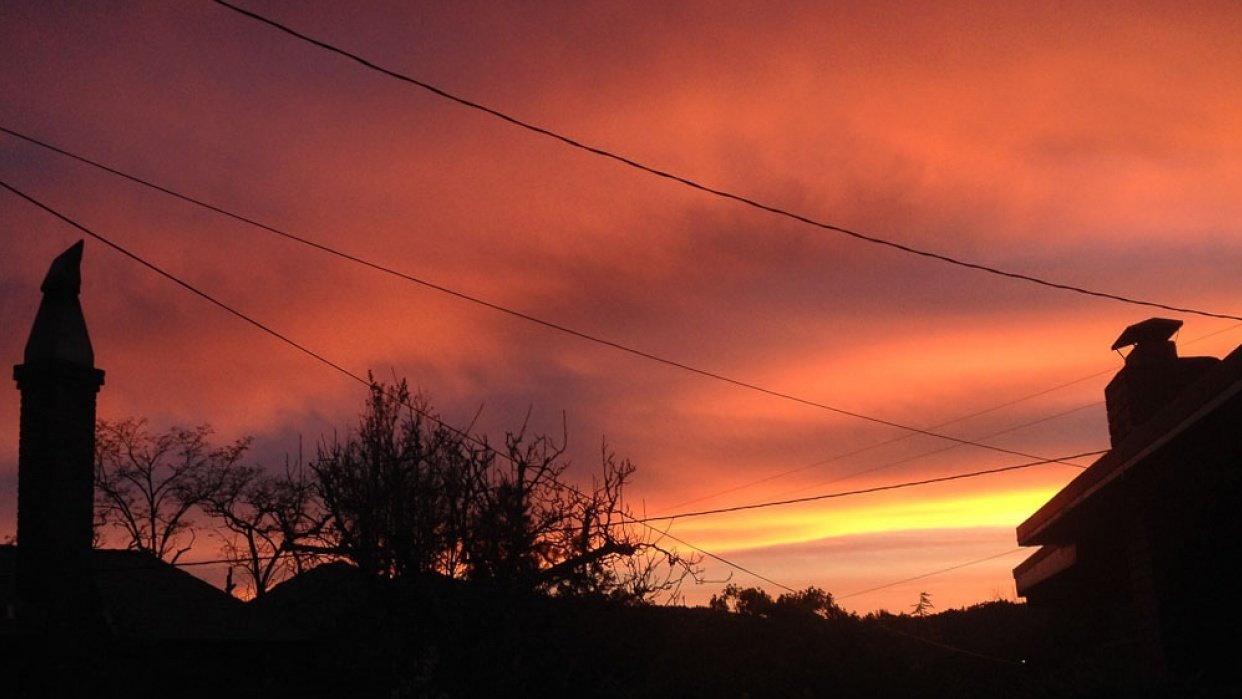 California Sunrise ...from my deck--daytime is interesting too--and sunset - student project