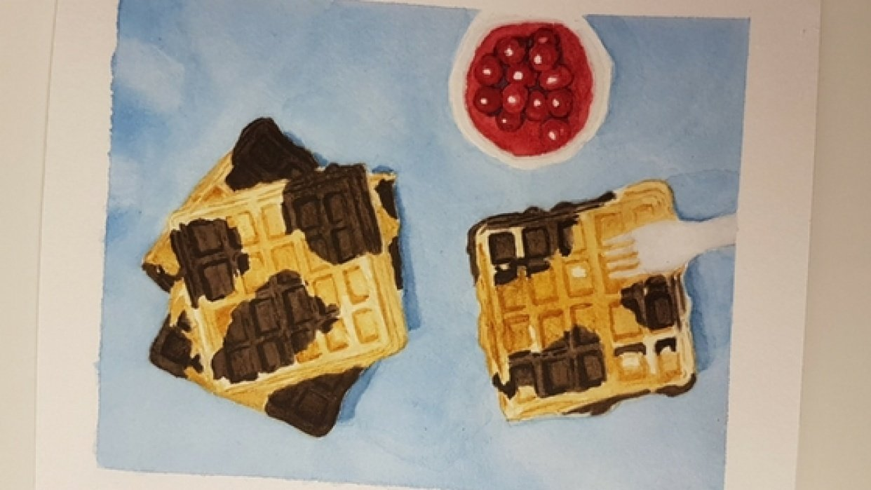 Practice Connecting things in Watercolor - Waffles - student project
