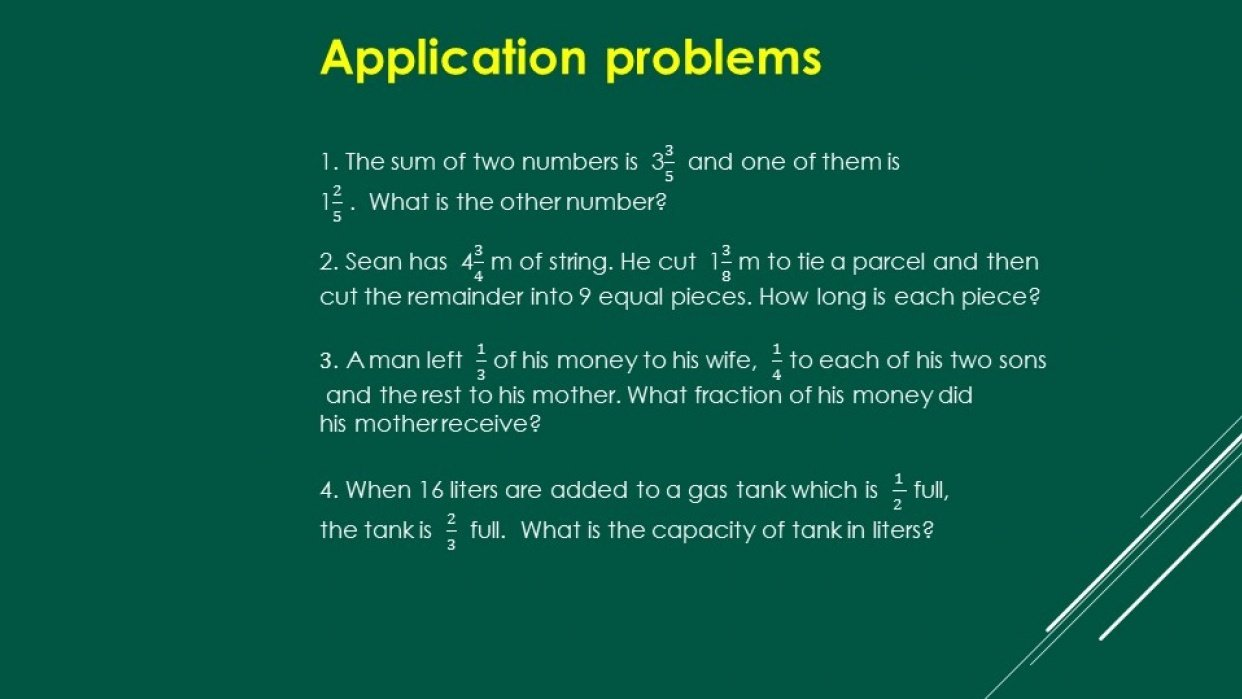 Word Problems with Fractions - student project