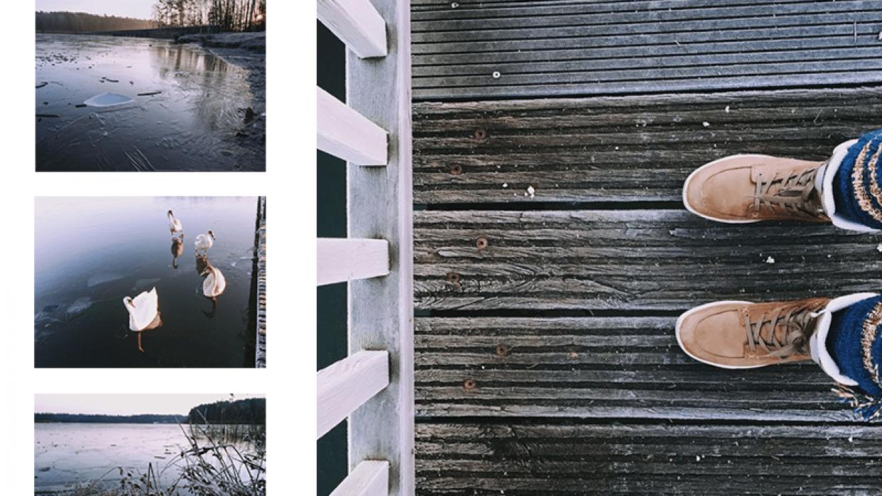 frozen lake at sunrise - student project
