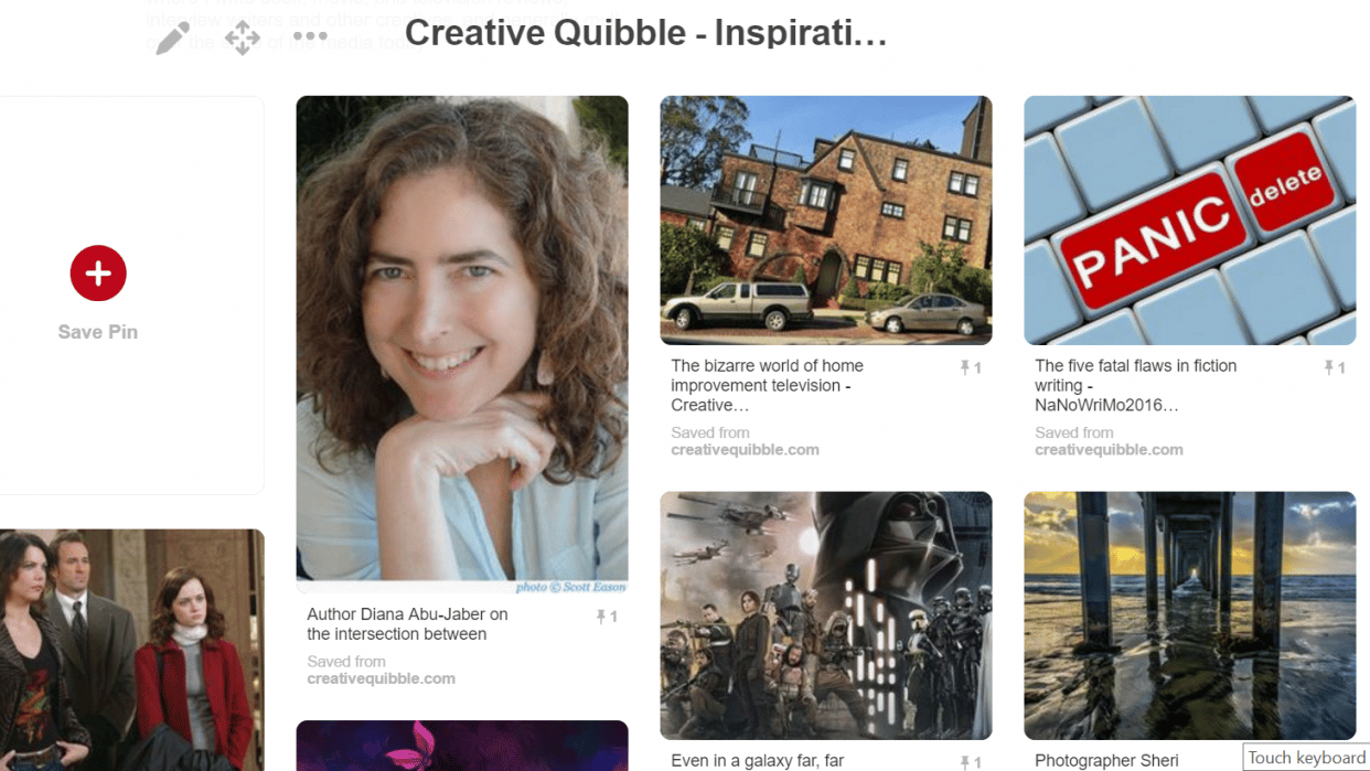 Creative Quibble on Pinterest - student project