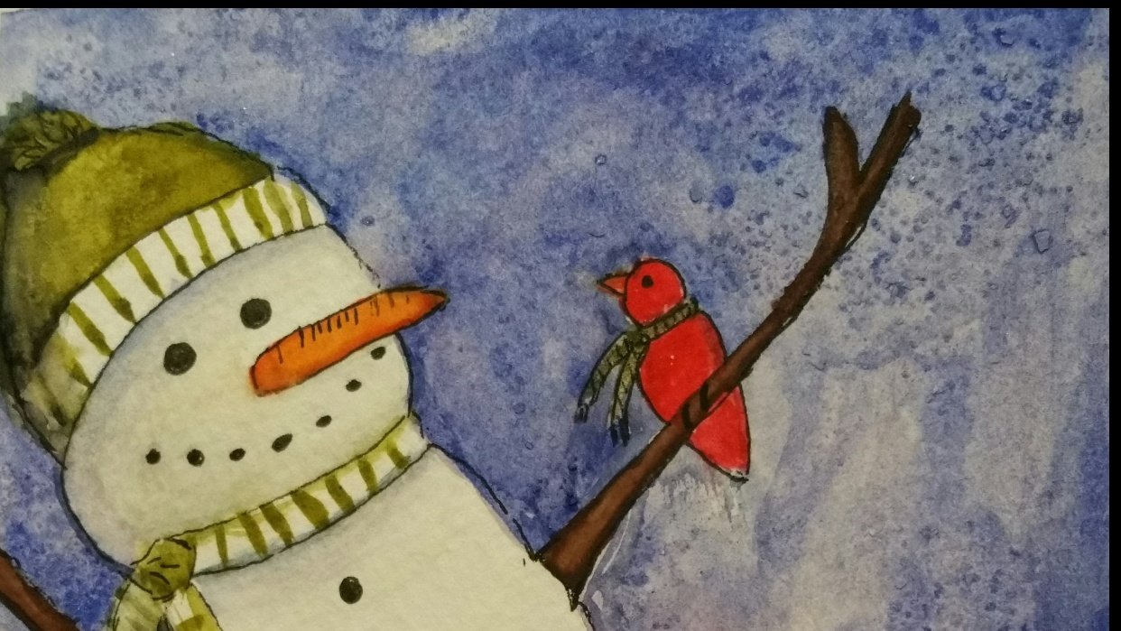 Watercolor Snowman - student project