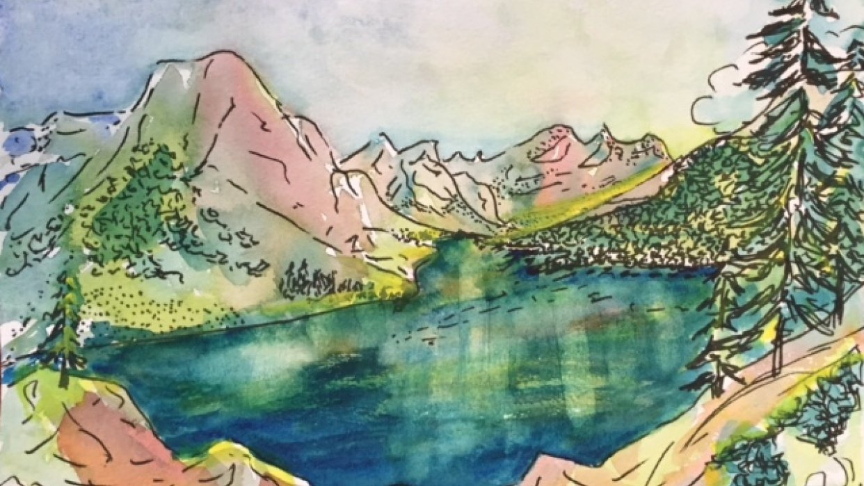 Speed painting, June Lake, Ca - student project