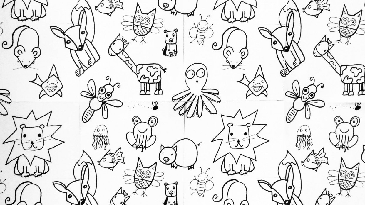 Cute Animal Wallpaper (Animals from Em Winn's Drawing for Kids class) - student project