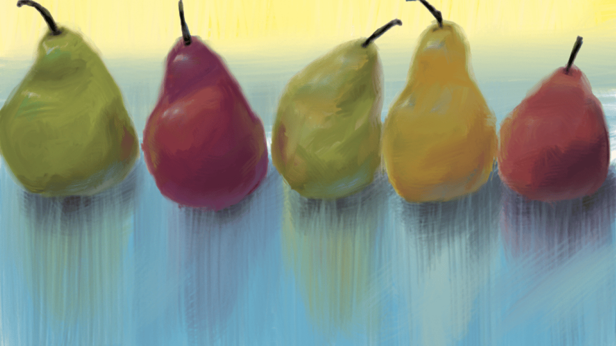 Pears on a reflective table - student project