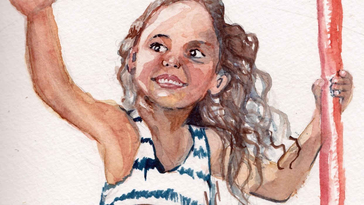 Girl in watercolor - student project