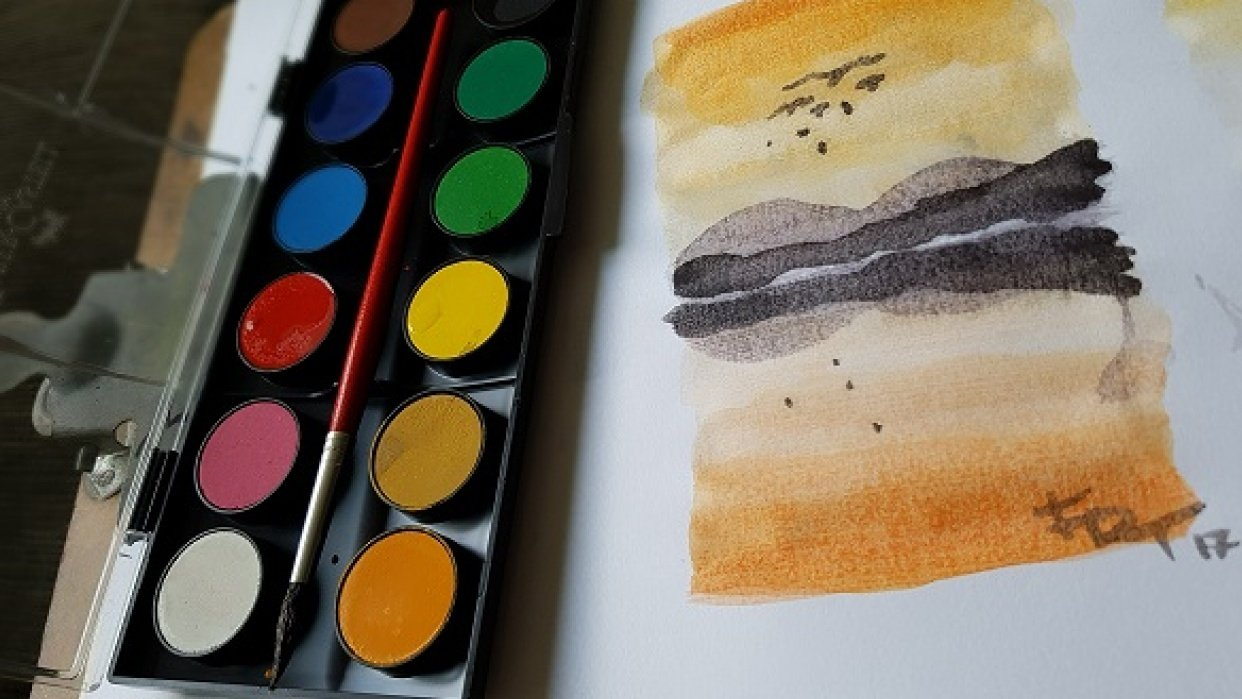 Child-school graded watercolor..   - student project