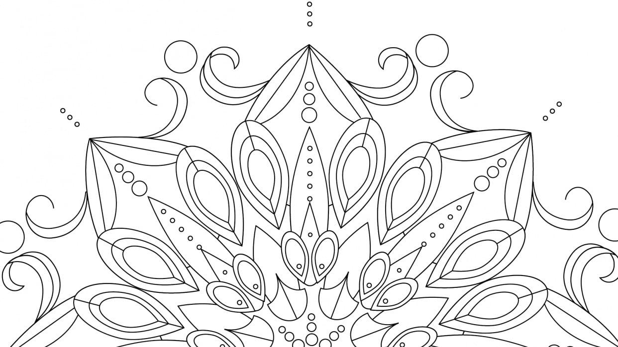 Coloring Book Lotus Mandala - student project