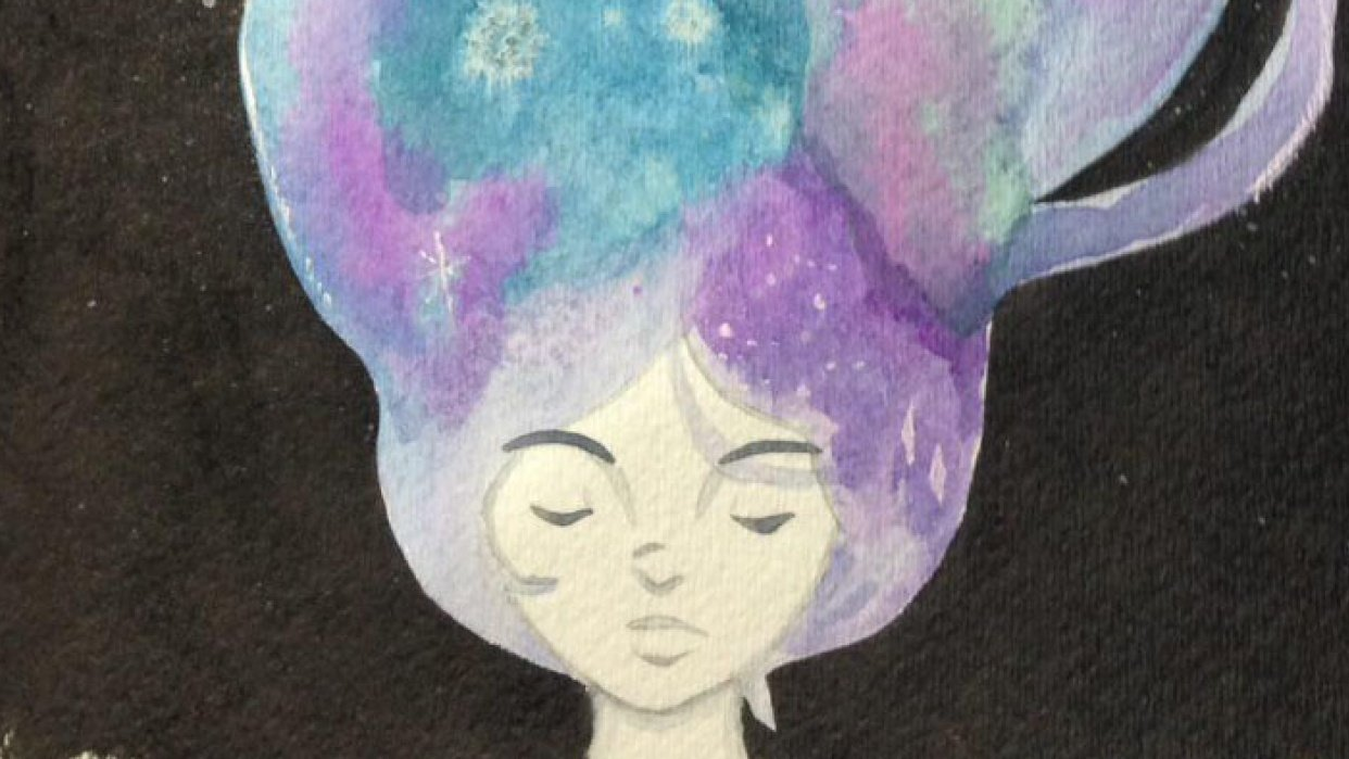 Monochrome girl, Jellyfish and Galaxy hair  - student project