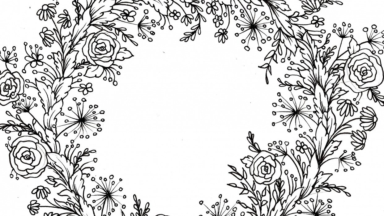 Floral wreath for greeting card - student project