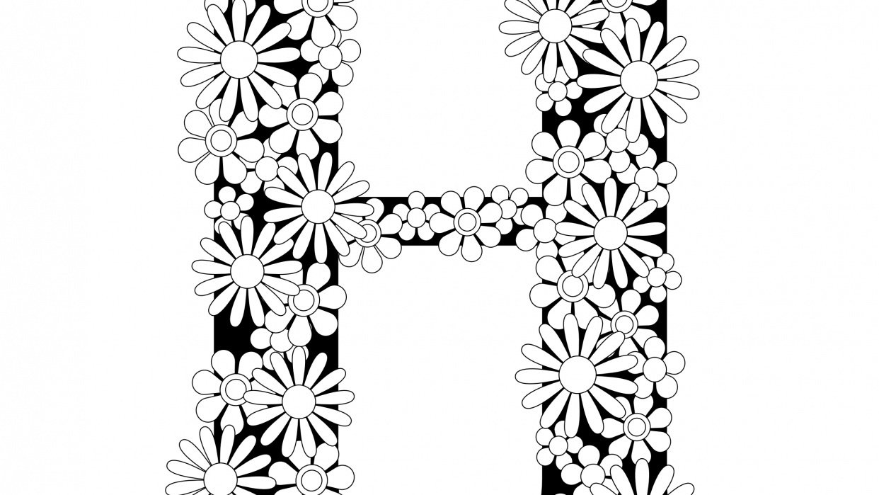 Coloring Book Page - H with Flowers - student project