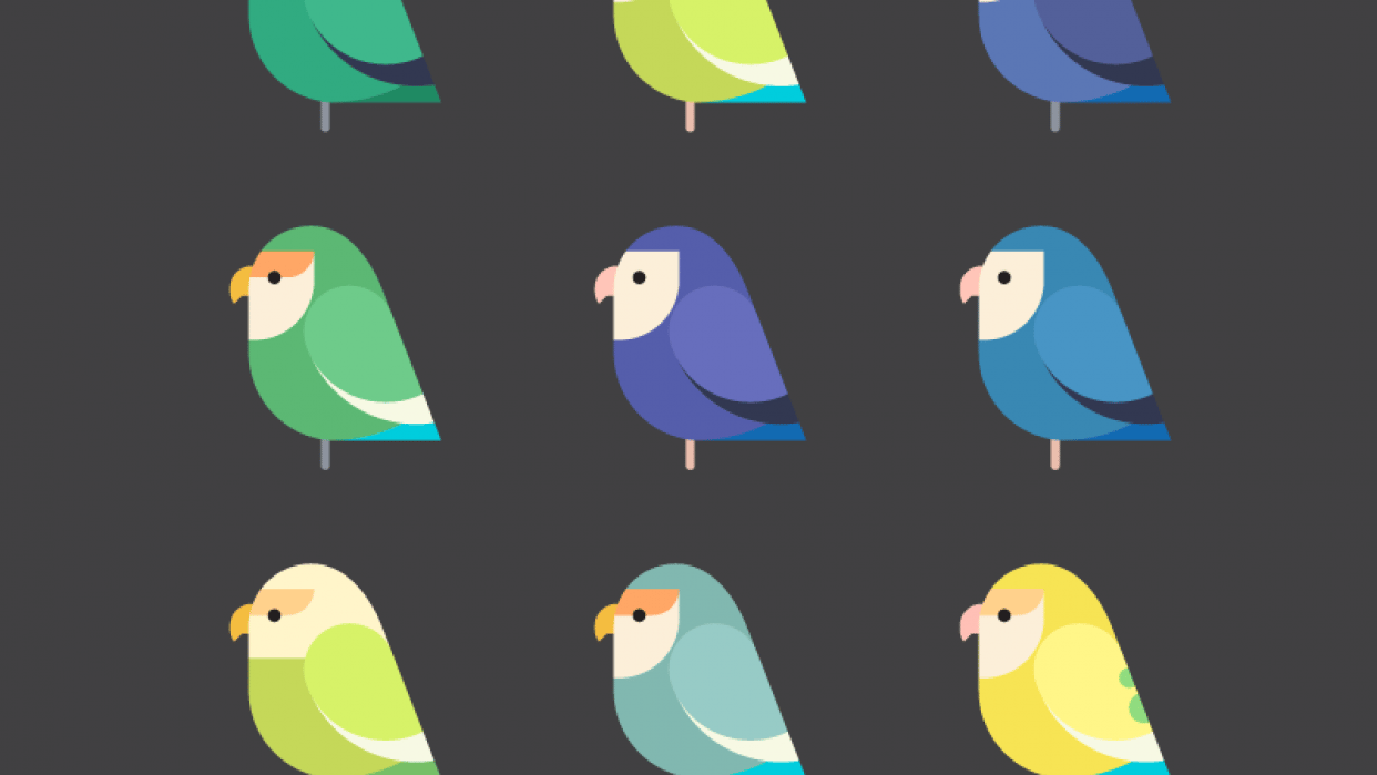 Lovebirds geometric style - student project