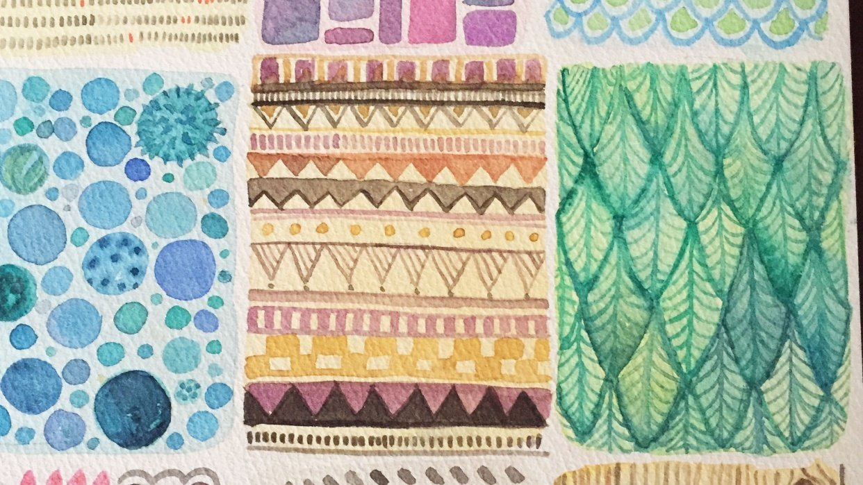Watercolor patterns - student project