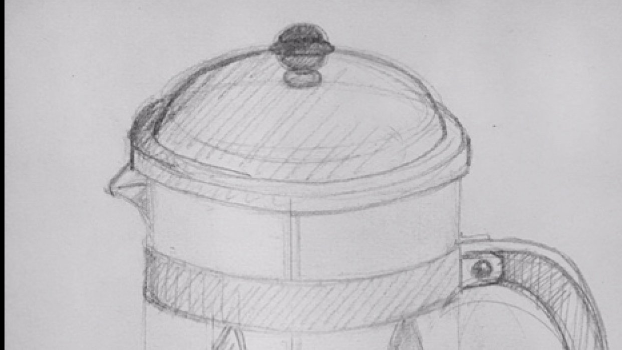 Sketch of french coffee press - student project